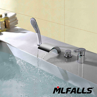 Contemporary Deck Mounted Waterfall Handshower Included Ceramic Valve Two Handles Four Holes Chrome, Bathroom Sink Faucet