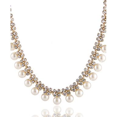 Női Rövid nyakláncok / Y nyaklánc - Gyöngyutánzat, Hamis gyémánt Virág Alap Arany Nyakláncok Ékszerek Kompatibilitás Esküvő, Parti, Születésnap, Party / estély, Eljegyzés