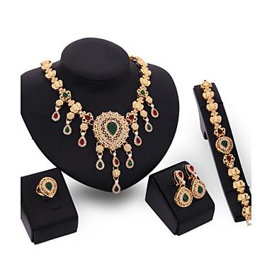 קריסטל סט תכשיטים - ציפוי זהב 18 קאראט, זירקוניה מעוקבת וינטאג', מסיבה, עבודה לִכלוֹל זהב עבור Party / עגילים / שרשראות
