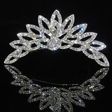 Fashion Peacock Rhinestones Alloy Platinum Plating Wedding Crown Tiaras Inserting Comb for Women