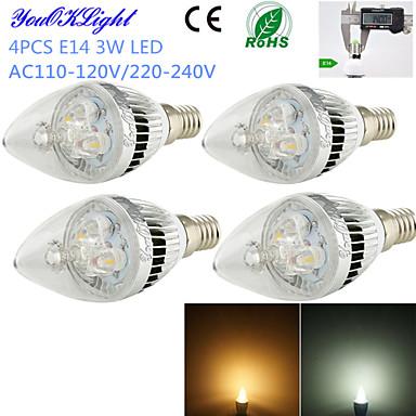 E14 LED Mum Işıklar C35 3 led Yüksek Güçlü LED Dekorotif Sıcak Beyaz Serin Beyaz 260lm 3000/6000K AC 220-240 AC 110-130V