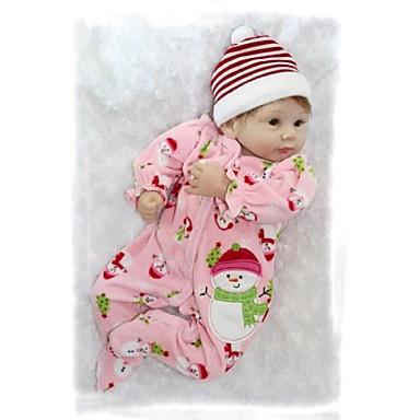 NPK DOLL Muñecas reborn Bebé 22 pulgada Silicona Vinilo - Recién nacido natural Bonito A mano Segura para Niños Non Toxic Kid de Chica Juguet Regalo / Encantador / CE / Tono de piel natural