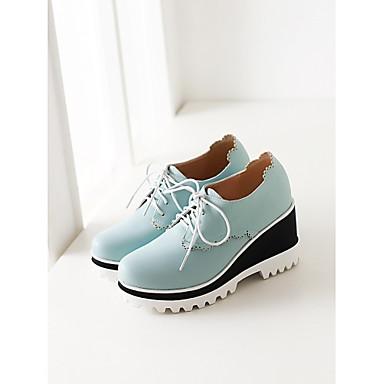 Sapatos Courino Primavera Verão Outono Anabela Com Para Social Branco Preto Azul Rosa claro