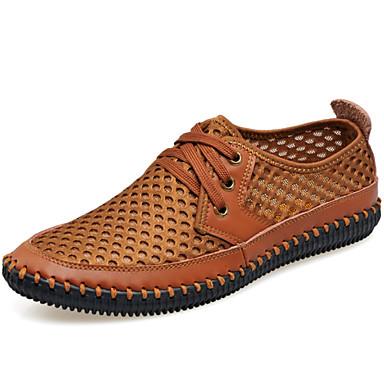 Hombre Zapatos Tul Primavera Verano Otoño Confort Zapatillas de deporte Tacón Plano Con Cordón para Casual Oficina y carrera Gris Verde