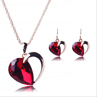 סט תכשיטים קריסטל אהבה אופנתי Heart Shape אדום ל Party אירוע מיוחד יום הולדת מתנות חתונה