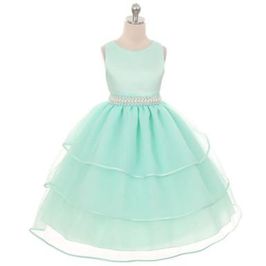 baratos Vestidos para Meninas-Infantil Para Meninas Roupas de Festa Sólido Sem Manga Vestido Azul