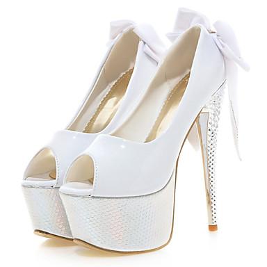 Elől kivágott Lábujj / Platform - Stiletto - Női cipő - Magassarkú - Esküvői / Ruha / Party és Estélyi - Lakkbőr - Fekete / Piros / Fehér