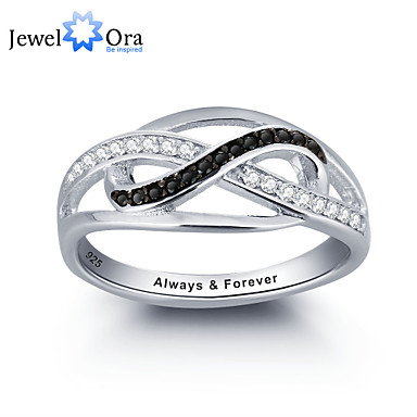 Noble Personalized Infinite Love Promise Ring 925 Sterling Silver Cubic Zirconia Ring For Women