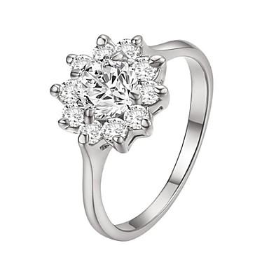 Dame Krystall Ring - Fuskediamant Blomst, Solsikke Klassisk, Fødselsstein Sølv / Gylden Til Daglig