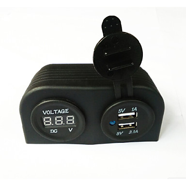 lossmann vízálló dupla USB autós töltő adapter és digitális voltmérő