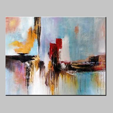 Hang-Boyalı Yağlıboya Resim El-Boyalı - Soyut / Fantezi Modern Tuval / Gerilmiş kanvas
