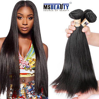 Straight Brazilian Human Hair Weaves Hair Extensions #kgDaily Straight Soft Black Women