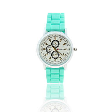 Masculino Mulheres Unissex Relógio Elegante Quartzo Relógio Esportivo Borracha BandaPreta Branco Azul Vermelho Marrom Verde Rosa Roxa
