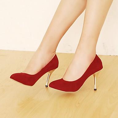 Feminino Sapatos Courino Primavera Verão Outono Salto Agulha para Casual Social Preto Marron Vermelho