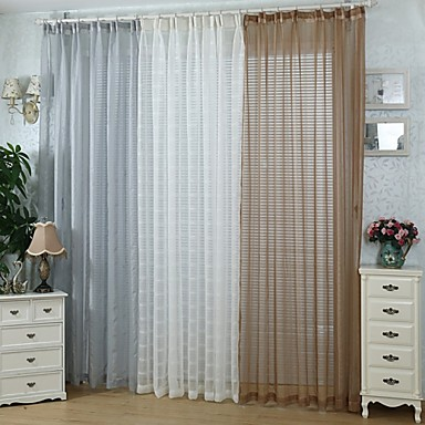 Grommet Top Two Panels Curtain European , Solid Bedroom Polyester Material Sheer Curtains Shades Home Decoration For Window