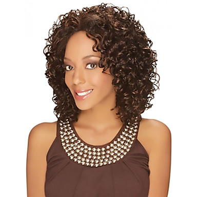 Synthetic Wig Curly Middle Part Heat Resistant African American Wig High Quality Fashion Brown Women's Capless Natural Wigs Medium