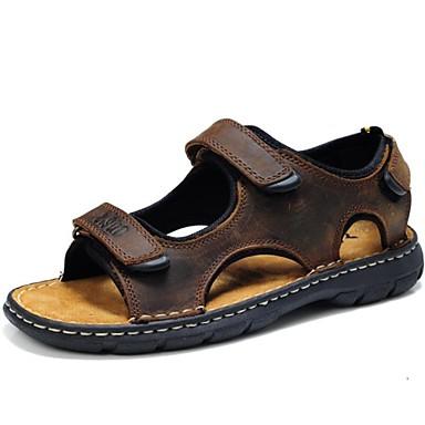 للرجال Leather نابا ربيع / صيف مريح صنادل أحذية الماء بني داكن