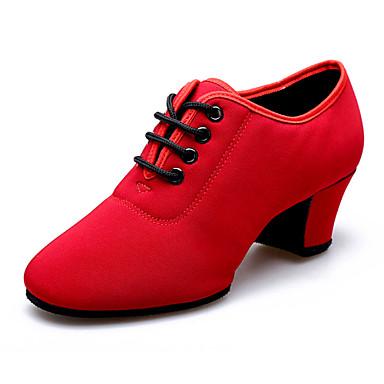 Nemoguće personalizirati - Ženske - Plesne cipele - Latino - Platno - Kubanska potpetica - Crna / Crvena