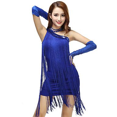 라틴 댄스 드레스 여성용 성능 폴리에스테르 태슬 드레스