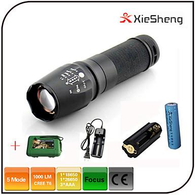 LED Fenerler LED 1000 lm 5 Kip Cree XM-L T6 Pil ve Şarj Aleti ile Zoomable Ayarlanabilir Fokus Darbeye Dayanıklı Şarj Edilebilir Su