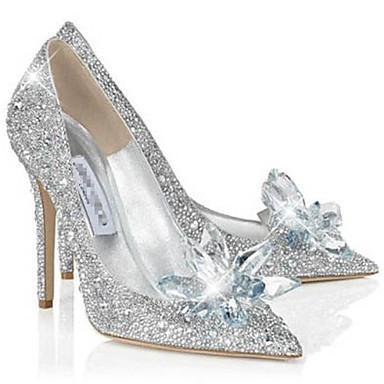 Kadın's Ayakkabı Parıltılı Kış Bahar Yaz Sonbahar Stiletto Topuk Günlük Elbise Parti ve Gece için Işıltılı Pullar Gümüş