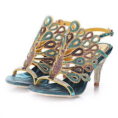 Mulheres Sapatos Sintético Tira no Tornozelo Sandálias Salto Agulha Salto Alto de Cristal Pedrarias para Social Festas & Noite Ao ar livre