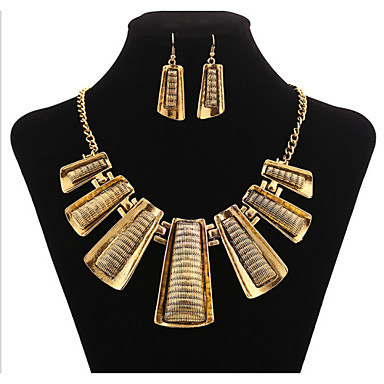 Damen Schmuck-Set Ohrringe / Halsketten - Retro / Party / Büro Geometrische Form Gold Schmuckset Für