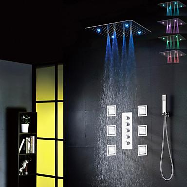 ברז למקלחת - עכשווי כרום שסתום קרמי / Brass / ארבע ידיות חמישה חורים