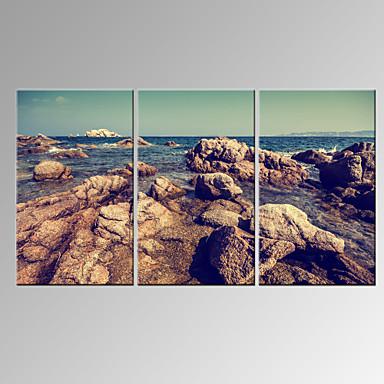 Abstrakti / Leisure / Landscape / Valokuvaus / Moderni / Romantiikka / Pop Art / Fantasy Canvas Tulosta 3 paneeli Valmis Hang , Horizontal