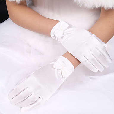 Polyester Elastic Satin Wrist Length Glove Classical Bridal Gloves With Solid