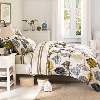 Nevresim Takımları Çiçekli 4 Parça Pamuk Duyarlı Baskı Pamuk 1 adet Yatak Örtüsü 2parça Yastık kılıfı 1 adet Düz Çarşaf 4parça(1 Yatak
