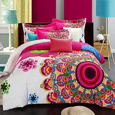 Bettbezug-Sets Blumen 4 Stück Baumwolle Seide/Baumwolle Reaktivdruck Baumwolle Seide/Baumwolle 1 Stk. Bettdeckenbezug 2 Stk. Kissenbezüge