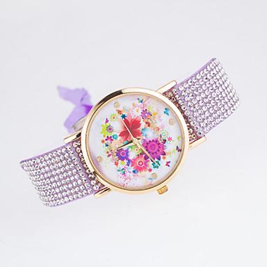 Dame Moteklokke Simulert Diamant Klokke Quartz Stoff Band Blomst Svart Hvit Blå Rød Brun Grønn Rosa Lilla Rose
