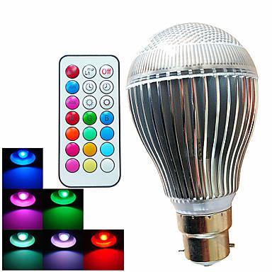 500 lm B22 LED Küre Ampuller A60(A19) 3 led Yüksek Güçlü LED Kısılabilir Dekorotif Uzaktan Kumandalı RGB AC 100-240V