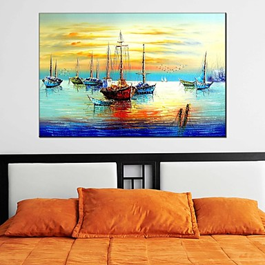 Hand-Painted Landscape Horizontal Panoramic, Classic Modern Realism Pastoral European Style Canvas Oil Painting Home Decoration One Panel