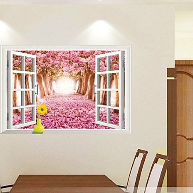 Cherry tree 3d landscape fake window wall removable wall stickers green sticker