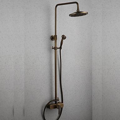 Moderna Conjunto Central Cascata Chuveiro Tipo Chuva Chuveiro de Mão Incluído Válvula Cerâmica Uma Abertura Monocomando Dois Buracos