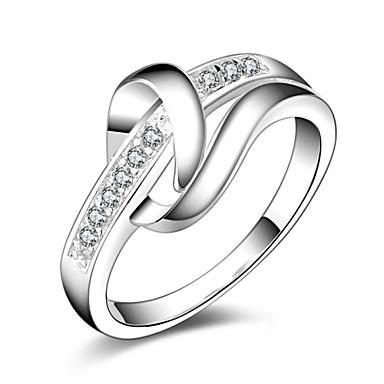 Anéis Pesta / Diário / Casual Jóias Prata Chapeada Feminino Anéis Statement 1pç,8 Prateado