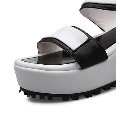 Femme 05728480 Noir Argent Hauteur Polyuréthane semelle de Confort Sandales Marche Chaussures Boucle Creepers Eté compensée Bout ouvert UraCUqw
