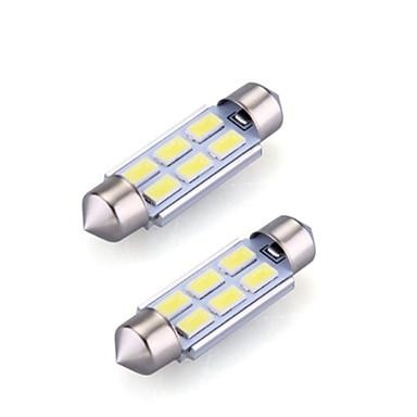 Недорогие Автомобильные светодиодные лампы-2xfestoon 6x5630smd 6000k белый свет светодиодные лампы для автомобиля (12 В постоянного тока, 36мм)
