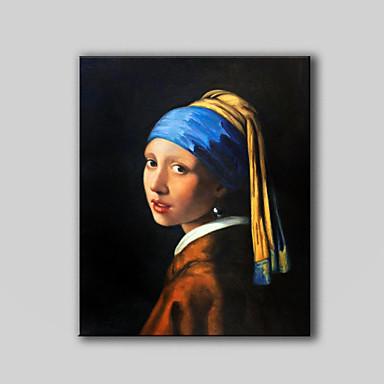 손으로 그린 유명한 / 사람클래식 / 전통적 / 유럽 스타일 1판넬 캔버스 항으로 그린 유화 For 홈 장식