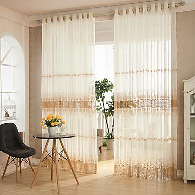 2 paneeli Maalaistyyliset / Modernit / Suunnittelija Raita / Kurvi Kuten kuvassa Living Room Polyesteri Läpinäkyvät verhot Shades
