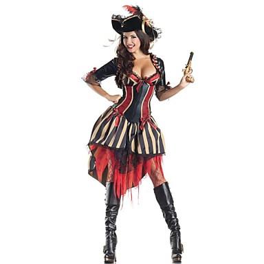 해적 코스프레 코스츔 파티 코스튬 여성 할로윈 카니발 페스티발 / 홀리데이 할로윈 의상 레드와 블랙 패치 워크
