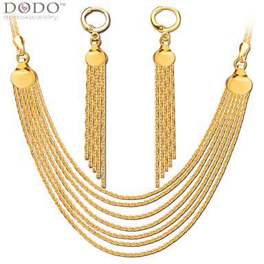בגדי ריקוד גברים בגדי ריקוד נשים נשים סט תכשיטים תכשיטי יוקרה ציפוי זהב שרשראות עגילים עבור חתונה Party יומי קזו'אל מתנות חתונה