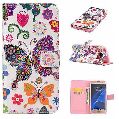 Käyttötarkoitus Samsung Galaxy S7 Edge kotelot kuoret Korttikotelo Lomapkko Tuella Flip Kokonaan peittävä Etui Perhonen PU-nahka varten