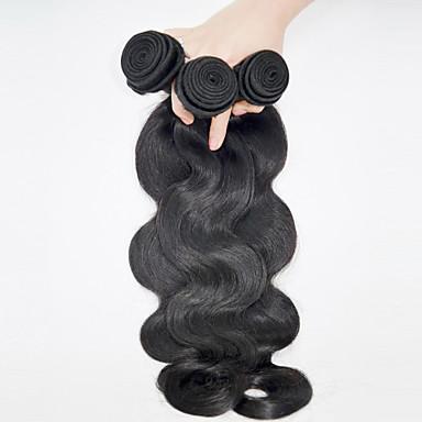 Cabelo Humano Cabelo Brasileiro Cabelo Humano Ondulado Onda de Corpo Extensões de cabelo 3 Peças Preto