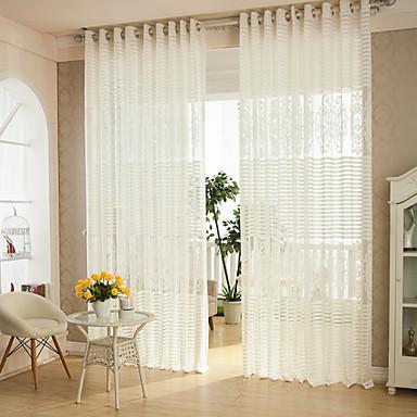 Anéis Único Plissado Dois Painéis Tratamento janela Modern , Sólido Riscas Pontos Polka Sala de Estar Poliéster Material Sheer Curtains