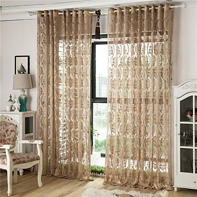 Anéis Único Plissado Dois Painéis Tratamento janela Europeu, Oco Riscas Curva Geométrico Sala de Estar Poliéster Material Sheer Curtains