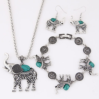 Women's Jewelry Set Resin Turquoise Alloy Elephant Animal Luxury Cute Style European Party Birthday Engagement Gift Daily Casual Earrings