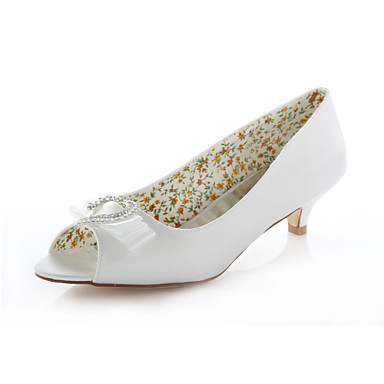 Women's Shoes Stretch Satin Spring / Summer Low Heel Crystal / Ribbon Tie Ivory / Wedding / Party & Evening
